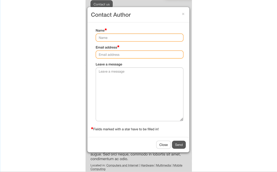 Contact Form Field for SobiPro component - responsive on mobile