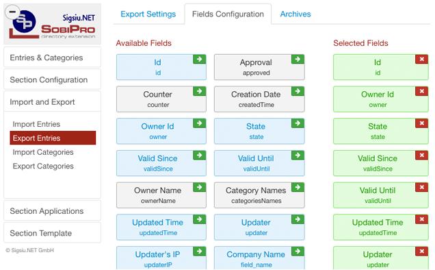 Export Entries Fields Configuration