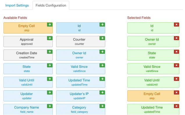 Import Entries Fields Configuration