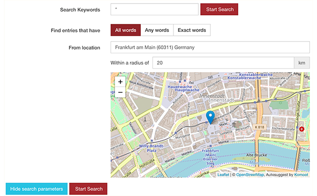 Map in Search Form with Radius Search