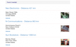 Search results with distances to given location