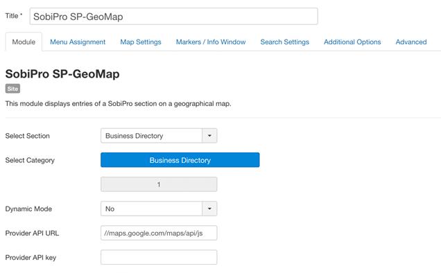 SP-GeoMap Module for SobiPro - Configuration - Tab 'Module'