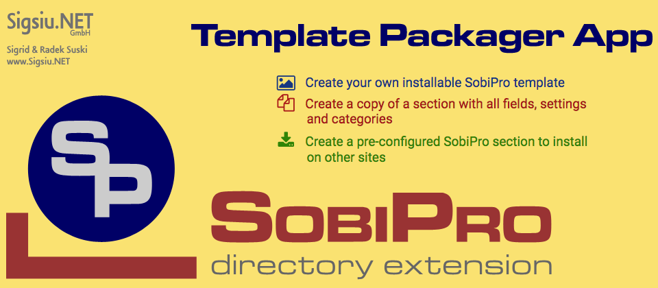Template Packager application for SobiPro component screenshot
