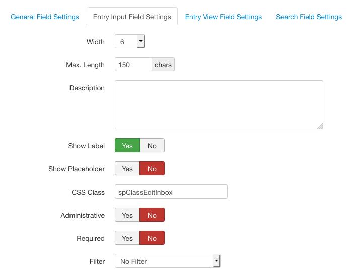 Input Box Field Configuration - The Input Box Field - Information Center