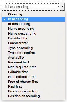 Fields Manager - Ordering Options screenshot