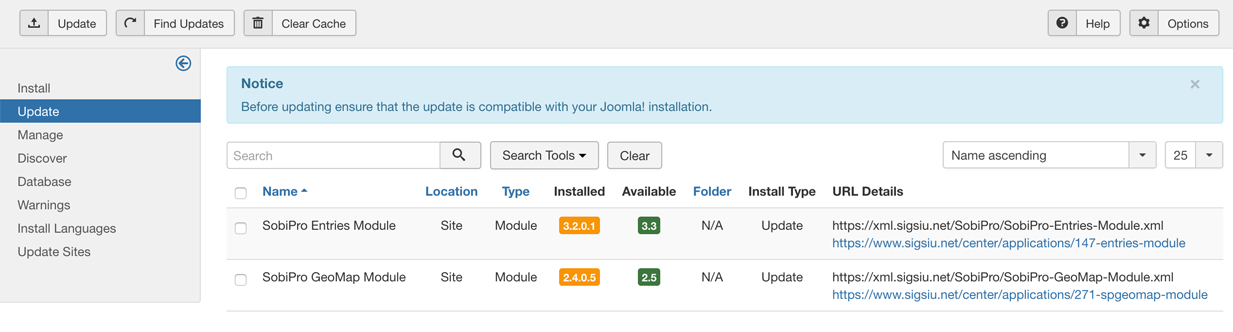 Application Manager - Joomla Updates screenshot