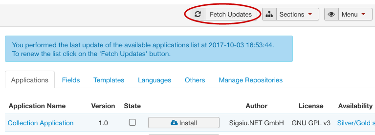 SobiPro Application Manager - Fetch Updates screenshot