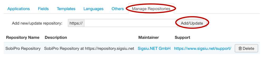 SobiPro Application Manager - Manage Repositories screenshot