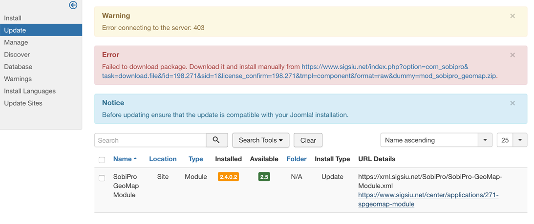 Application Manager - Joomla Updates 403 screenshot