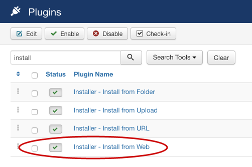 SobiPro Installation - Install from Web Plugin screenshot
