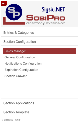 Section Configuration Menu screenshot