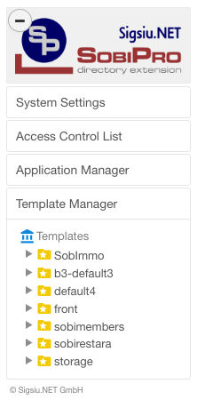 The Global Template Manager in SobiPro screenshot