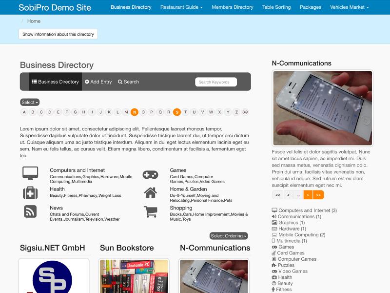 SobiPro Showcase: SobiPro Demo Site