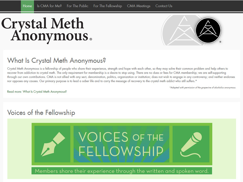 SobiPro Showcase: Crystal Meth Anonymous GSO website